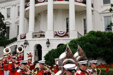 The U.S. Marine Band plays at an Independence Day barbeque for members of the military at he White House in Washington