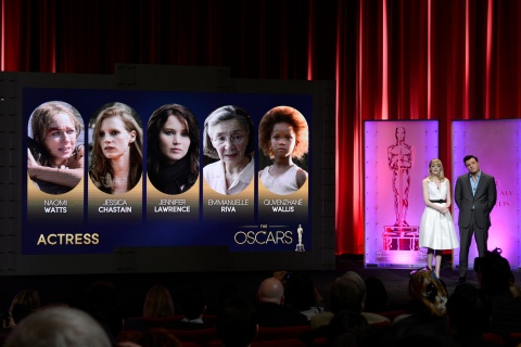 Hosts Stone and MacFarlane read the Best Actress nominees at the 85th Academy Awards nominee announcements in Beverly Hills, California