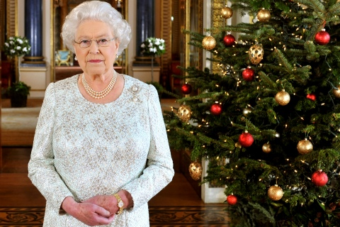 Britain's Queen Elizabeth records her Christmas message in 3-D from the White Drawing Room of Buckingham Palace