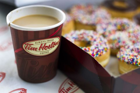 image: A Tim Hortons coffee and doughnuts are shown in Toronto, Ontario, Canada on August 3, 2011.