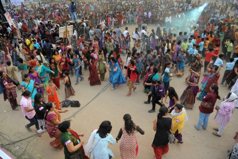 Participants dance during Ahmedabad Rising in support of the nation wide 'One Billion Rising India Campaign' in Ahmedabad on February 14, 2013.