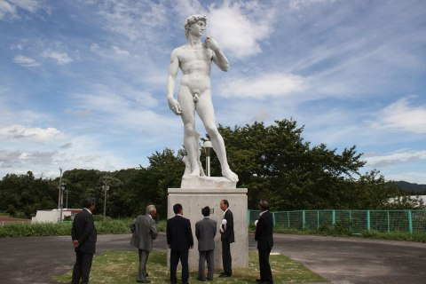 A replica of Michelangelo's Renaissance masterpiece sculpture David at a public park in Okuizumo town in Shimane prefecture, western Japan, Aug. 28, 2012.
