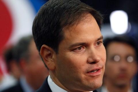 U.S. Senator Rubio speaks to the media before Republican presidential nominee Romney and U.S. President Obama meet in the final U.S. presidential debate in Boca Raton