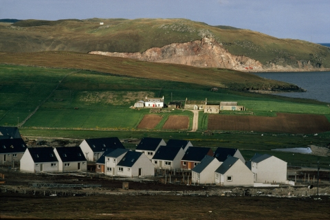 A small suburb for permanent oil workers has risen amid the crofts, Brae, Shetland Islands, Scotland