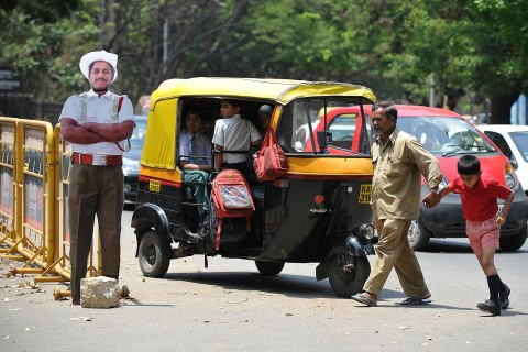 Cardboard police in Bangalore