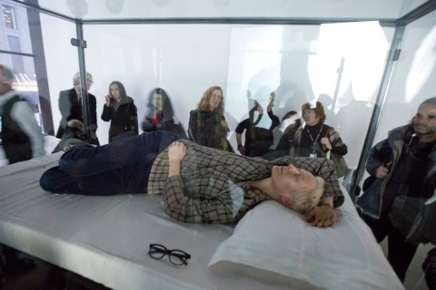 "Actress Tilda Swinton performs the art of sleeping in her one-person piece called ""The Maybe,"" in New York's Museum of Modern Art."