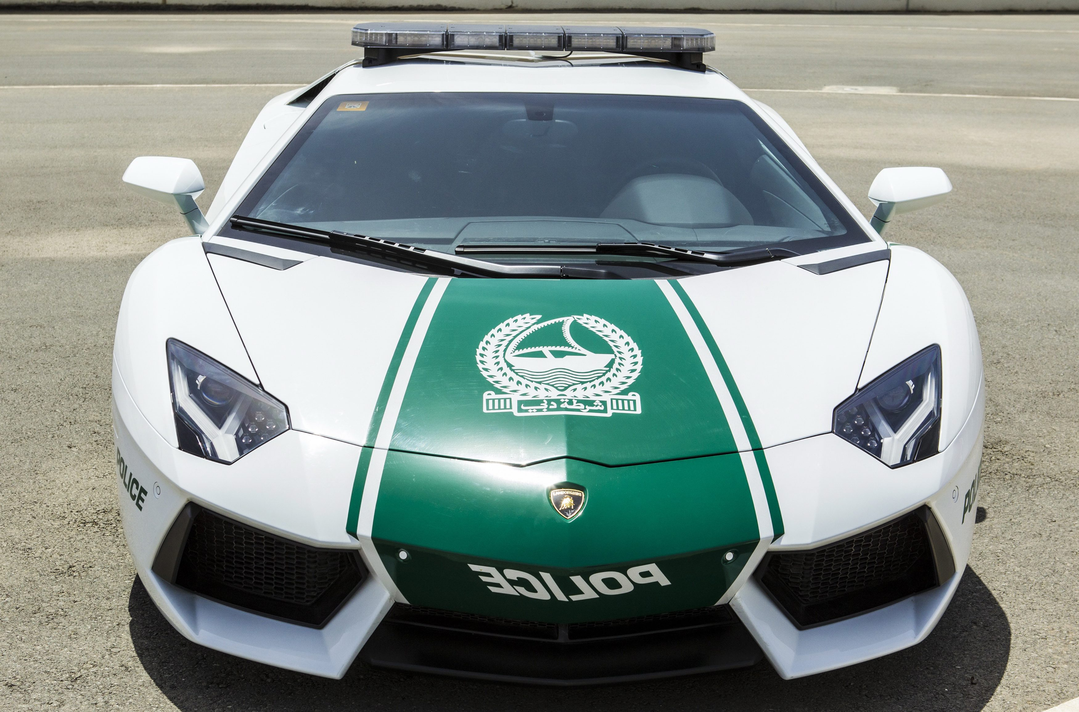A handout picture released by Dubai Police Office shows the new Lamborghini Aventador which is used by Dubai Police Department, in Dubai, United Arab Emirates, 11 April 2013. Dubai Police announced on 11 April they added the Italian-made sports car to their police vehicles, apparently to boost their ability in high-speed chases. The 420,000 euros car can reach a speed of up to 349km/h.
