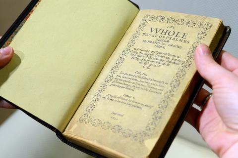 A copy of the Bay Psalm Book, the first book printed in what is now the USA in 1640 and is considered the world's most valuable book, with an auction estimate of $15 to $30 million is previewed in New York on April 12, 2013.