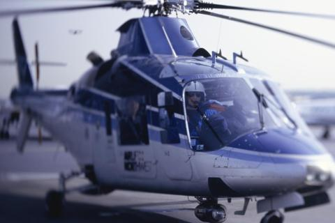 An emergency airlift helicopter is seen preparing for take-off.