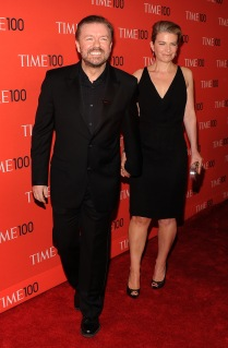 From Left: Ricky Gervais and Jane Fallon arrive at the 2013 TIME 100 Gala, TIME'S 100 Most Influential People In The World at Jazz at Lincoln Center, in New York City, on April 23,2013.