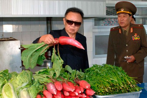 Kim Jong Il with vegetables