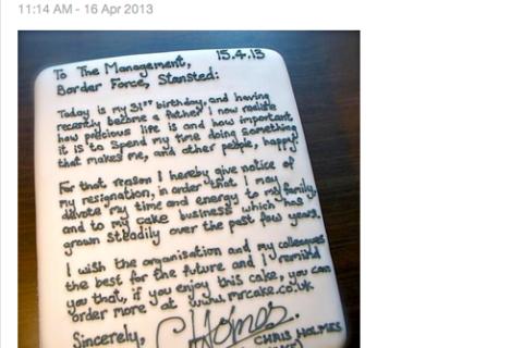 resignation letter cake screengrab