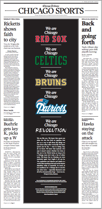 Image: A copy of the Chicago Tribune's sports page from April 16, 2013