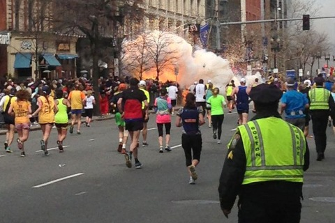 An explosion goes off near the finish line of the 117th Boston Marathon, April 15, 2013.