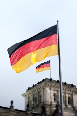 German flags on The Reichstag