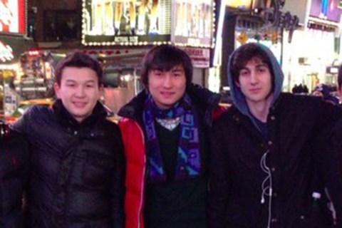 Tsarnaev poses with Tazhayakov and Kadyrbayev in an undated photo taken in New York