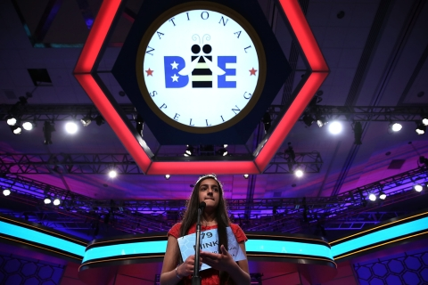 Minka Gill of Kokomo, Ind., participates in the round two of the 2013 Scripps National Spelling Bee, in National Harbor, Md., on May 29, 2013.
