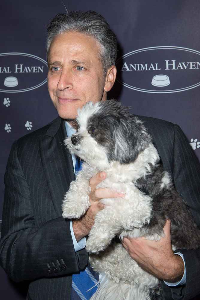 Jon Stewart and Baby Hope Diamond attend the 3rd Annual Performance For The Animals Benefiting Animal Haven at Top of The Standard Hotel on June 4, 2013 in New York City.