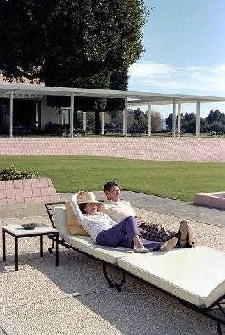 President Ronald Reagan and First Lady Nancy Regan recline on the patio, Dec. 31, 1981.