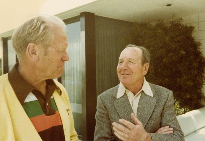 President Gerald Ford with Ambassador Leonard Firestone outside the game room at Sunnylands, March 1978.
