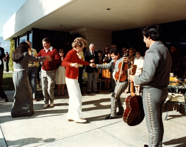 The Reagans dancing with members of a mariachi band at Sunnylands, Jan. 1, 1983.