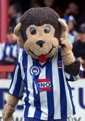 Mayor of Hartlepool Stuart Drummond dressed as H'Angus, the mascot for Hartlepool United Football Club on April 30, 2002.
