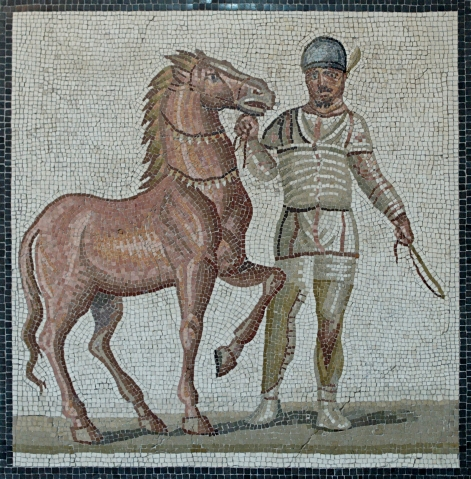 A Roman chariot race driver with horse (Incitatus)