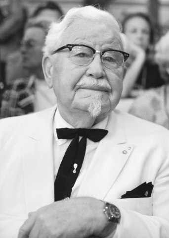 Colonel Harland Sanders, founder of the Kentucky Fried Chicken fast food restaurant chain, attending the 1972 Democratic National Convention in Miami, in July 1972.