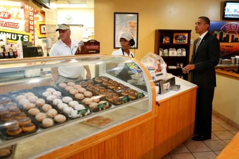 U.S. President Barack Obama stops to buy doughnuts at a Krispy Kreme store in Tampa