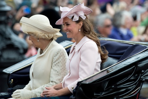 Britain's Camilla, Duchess of Cornwall and Catherine, Duchess of Cambridge return to Buckingham Palace after attending the Trooping the Colour ceremony on Horse Guards Parade in central London