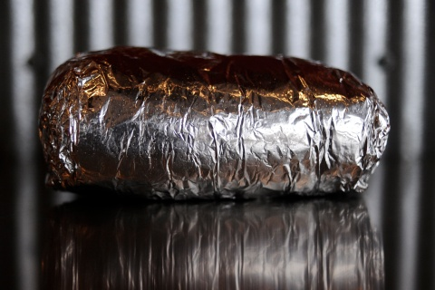 A Chipotle burrito in it's signature aluminum wrap on Friday, February 12, 2010. Burrito was that the original location on E. Evans Ave. Cyrus McCrimmon, The Denver Post