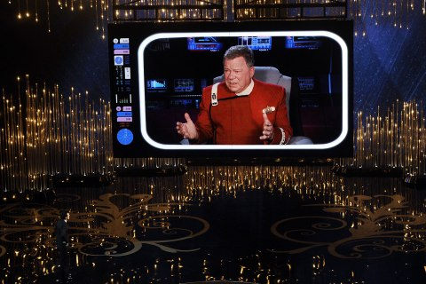 Actor William Shatner is seen on the video screen during the Oscars held at the Dolby Theatre on February 24, 2013 in Hollywood, California.