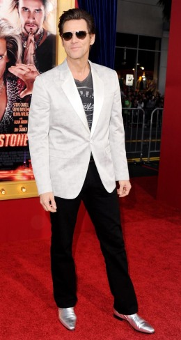 """Jim Carrey arrives at the Los Angeles Premiere """"The Incredible Burt Wonderstone"""" at TCL Chinese Theatre in Hollywood, on March 11, 2013."""