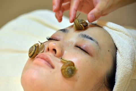 Snails crawls on the face of a woman for the demonstration of a new beauty treatment at the beauty salon 'Ci:z.Labo' in Tokyo, on July 13, 2013.