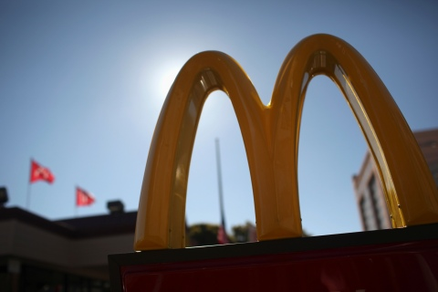 The McDonald's logo is pictured outside a McDonald's restaurant in the Fillmore District of San Francisco