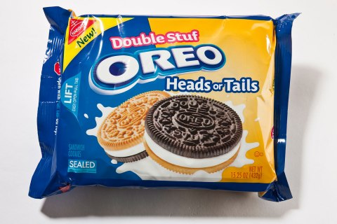 Double Stuf Heads or Tails cookies by Oreo.