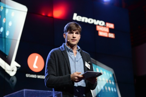 Ashton Kutcher, named Lenovo product engineer, launches Yoga Tablet at YouTube Space LA in Los Angeles, on Oct. 29, 2013.