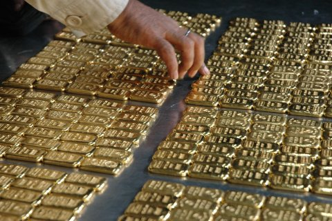 The airport armed police battalion recovered 280 pieces of gold bars from a Fly Dubai flight at Hazrat Shahjalal International Airport in Dhaka, Bangladesh, on Oct. 29, 2013.