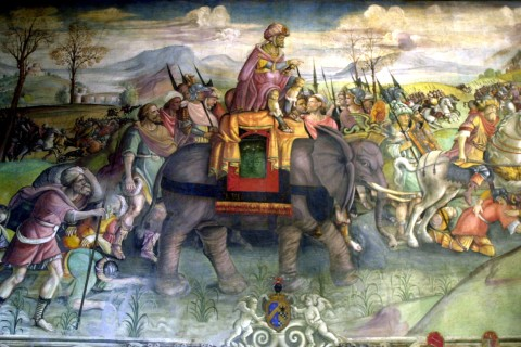 Detail of the fresco on Hannibal, Hannibal riding his elephant, Italy, Rome, Capitole museum.