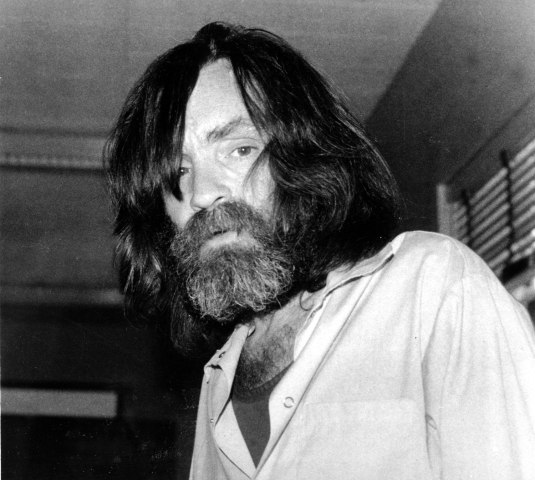 Charles Manson during an interview with television talk show host Tom Snyder in a medical facility in Vacaville, Calif. on June 10, 1981.