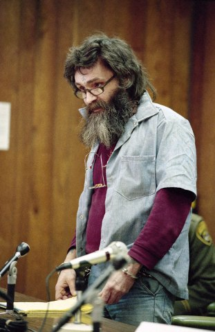 Convicted killer Charles Manson at his parole hearing at San Quentin, Calif., in 1985.