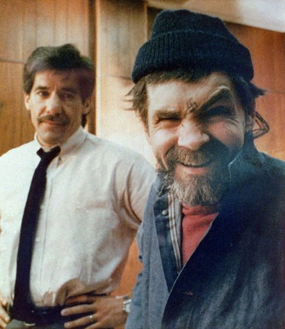 Charles Manson during an interview with  reporter Geraldo Rivera at San Quentin Prison in California, on March 17, 1988.