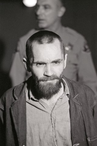 Convicted murderer Charles Manson shows up to his penalty trial in Los Angeles, on March 4, 1971.