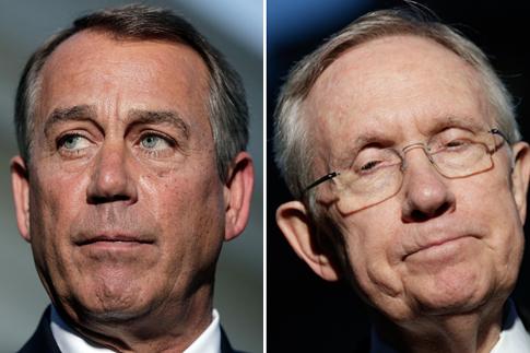 From left: U.S. Speaker of the House Representative John Boehner and U.S. Senate Majority Leader Senator Harry Reid.