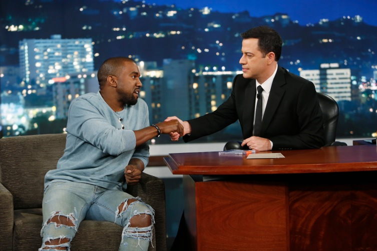 "From right: Jimmy Kimmel welcomes Kanye West to ""Jimmy Kimmel Live"" on Oct. 9, 2013."
