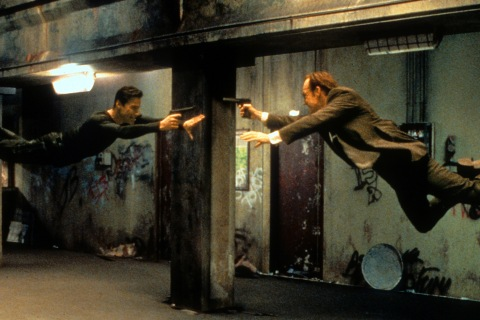 Keanu Reeves And Hugo Weaving In 'The Matrix'