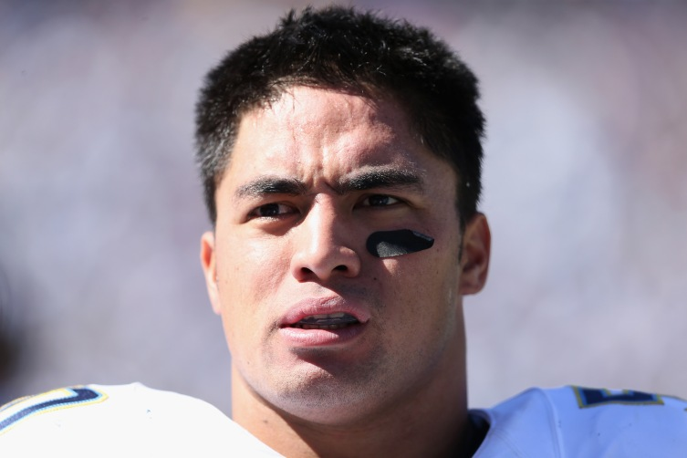 Inside linebacker Manti Te'o #50 of the San Diego Chargers during a game against the Dallas Cowboys at Qualcomm Stadium on Sept. 29, 2013 in San Diego, Calif.