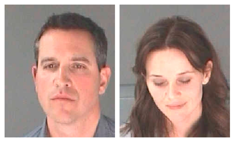 From left: Jim Toth and Reese Witherspoon after their arrest for D.U.I./Alcohol, released on April 21, 2013.