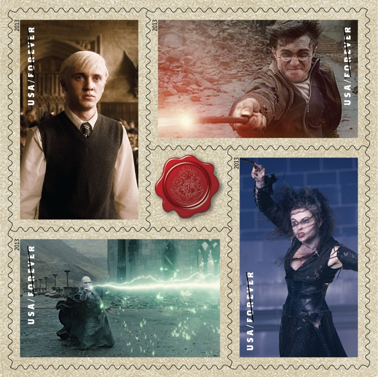 stamps-Draco-Malfoy,-Harry-Potter,-Bellatrix-Lestrange,-Voldemort