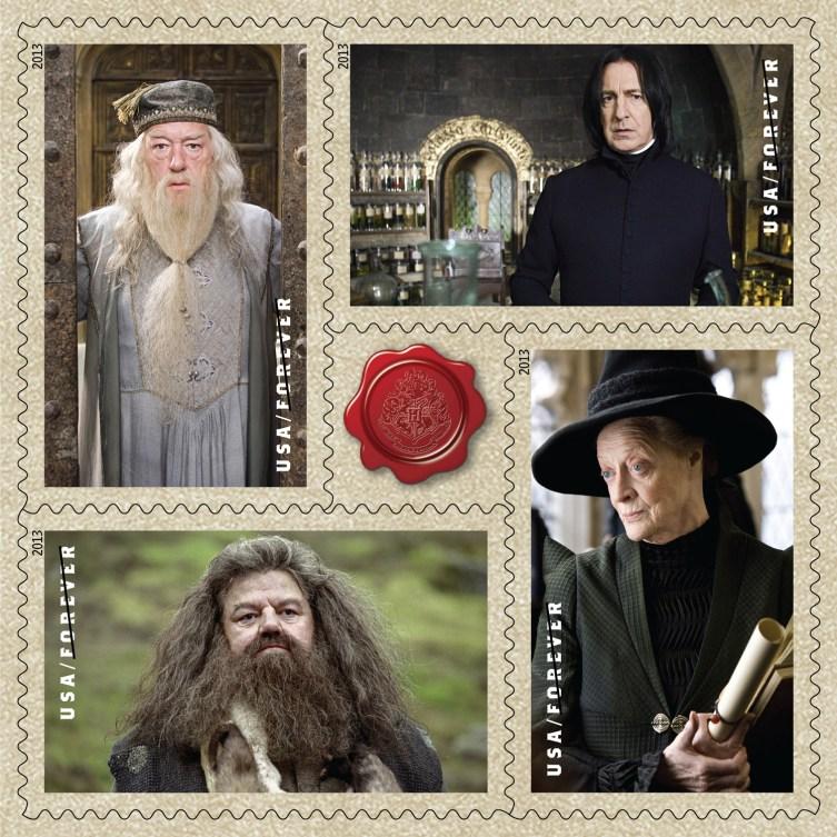 stamps-Dumbledore,-Snape,-Prof-McGonagall,-Hagrid
